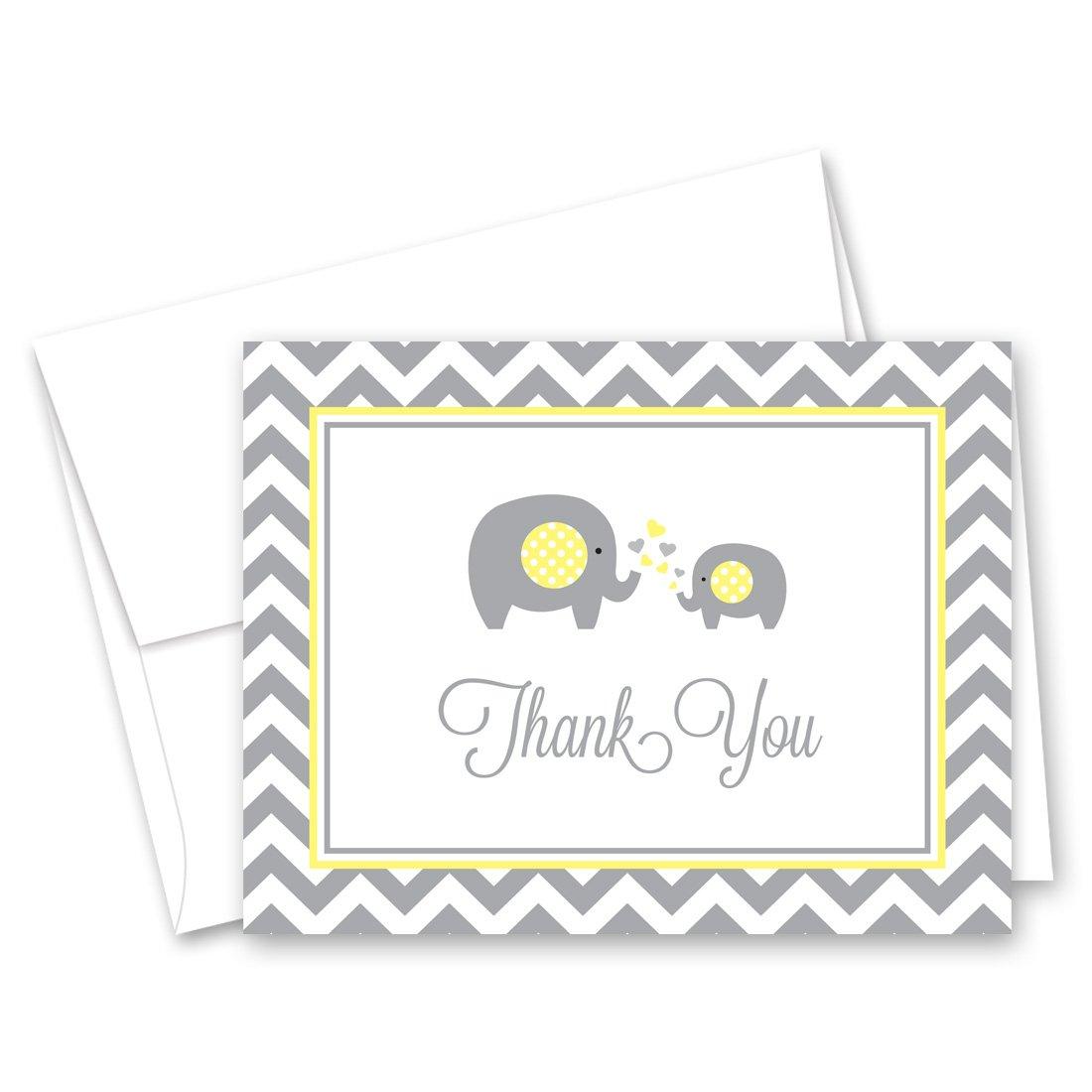 50 Cnt Grey Yellow Chevron Elephant Baby Thank You Cards