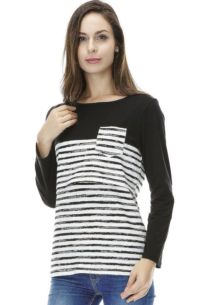 Bearsland - Camiseta para mujer con parche para lactancia: Amazon.es: Ropa y accesorios