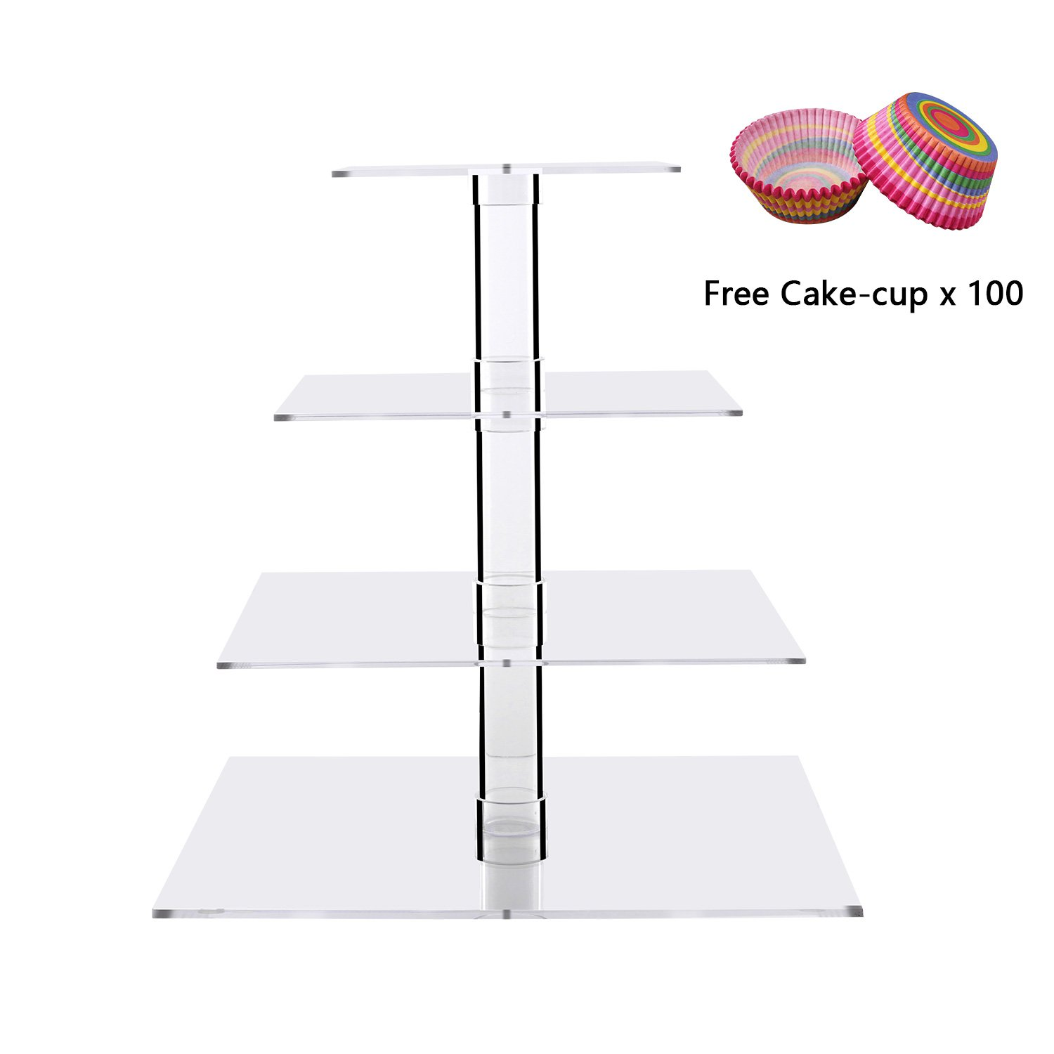 Cupcake Stands Clear Square Dessert Holders Stacked 4 Tiers Wedding Acrylic Tiered Cake Tower Party Tree Serving Tray Cupcake Display Serving Platter for Weddings, Pastries, Birthday, Graduation