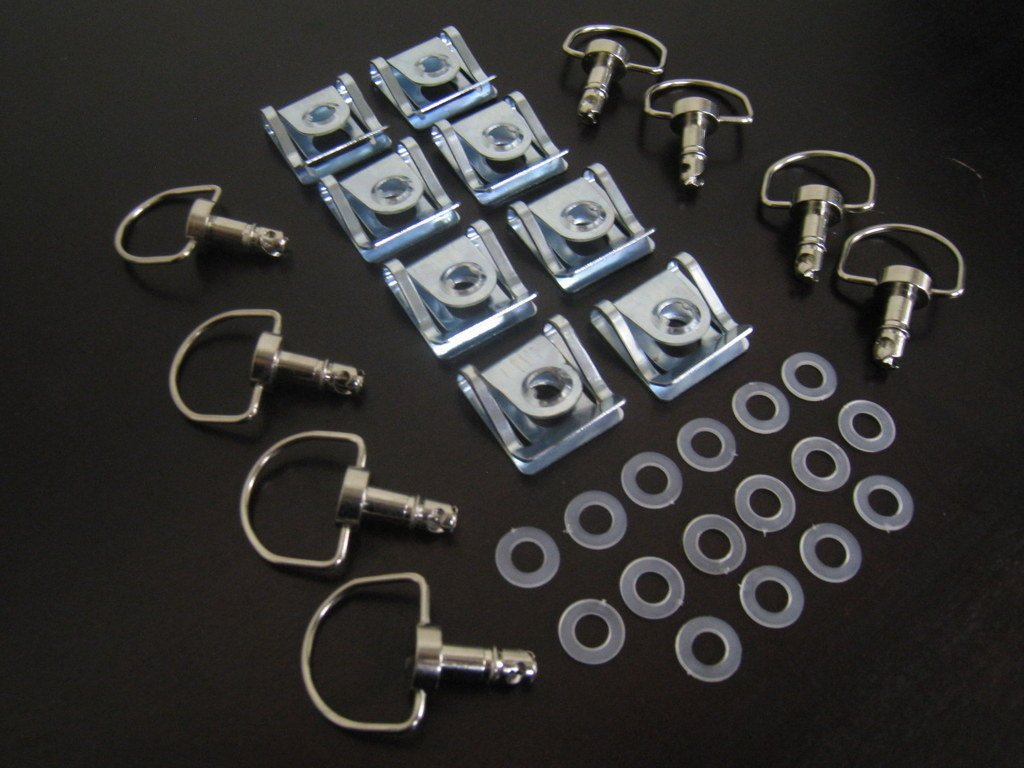 1/4 Turn Quick Release 14mm D-Ring Race Fairing Fasteners Clip Style Stainless Steel Silver 10 Sets CaliBikerClub