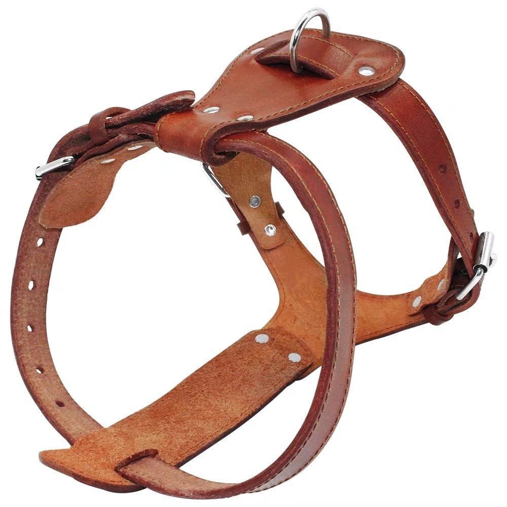 (41cm 60cm, Brown) Beirui Genuine Leather Dog Harness Pet Training Walking Harness for Medium Large Dogs Pitbull Boxer Mastiff