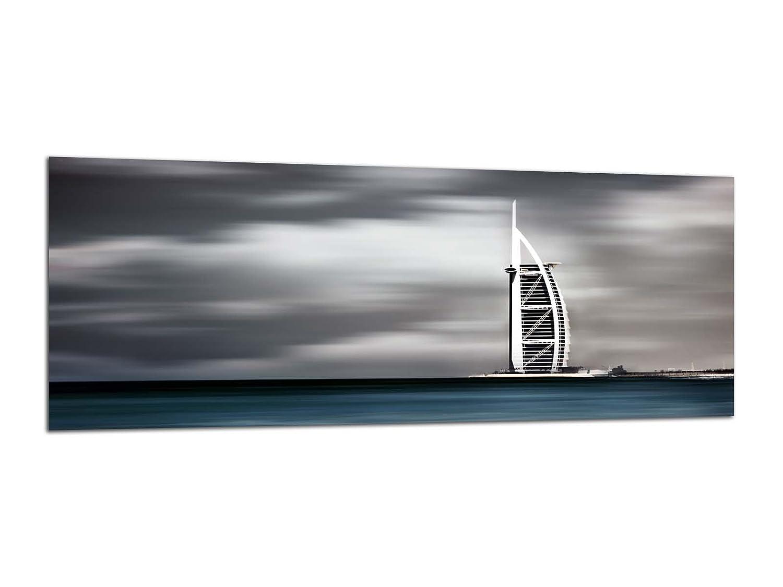 Quadro di vetro Impreso decorativo fatto a mano, 125x 50cm Dubai Burj al Arab ag312502478vetro Deco, Diseno & Fatto a mano kunst-discounter