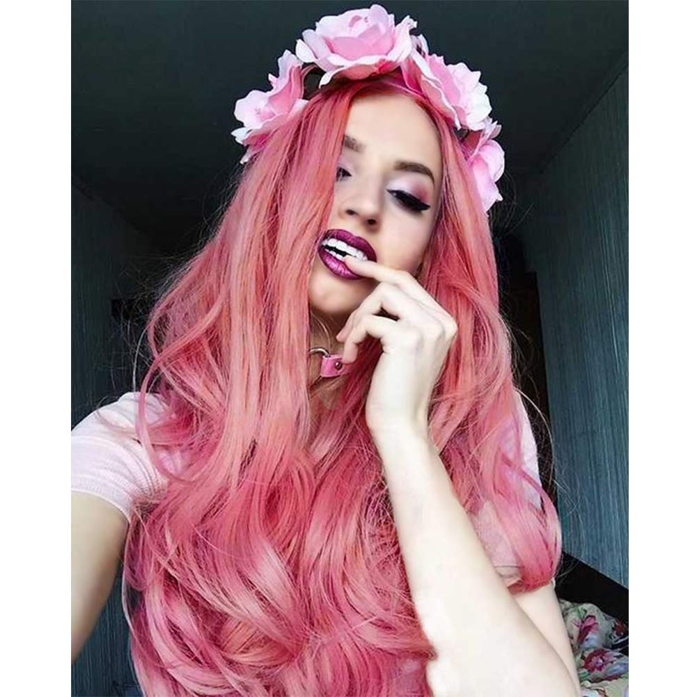 IWISH Pink Lace Front Wigs Long Wave Synthetic Wig for Women Free Part Mixed Blonde Color Heat Resistant Nature Looking Wig 28 Inch