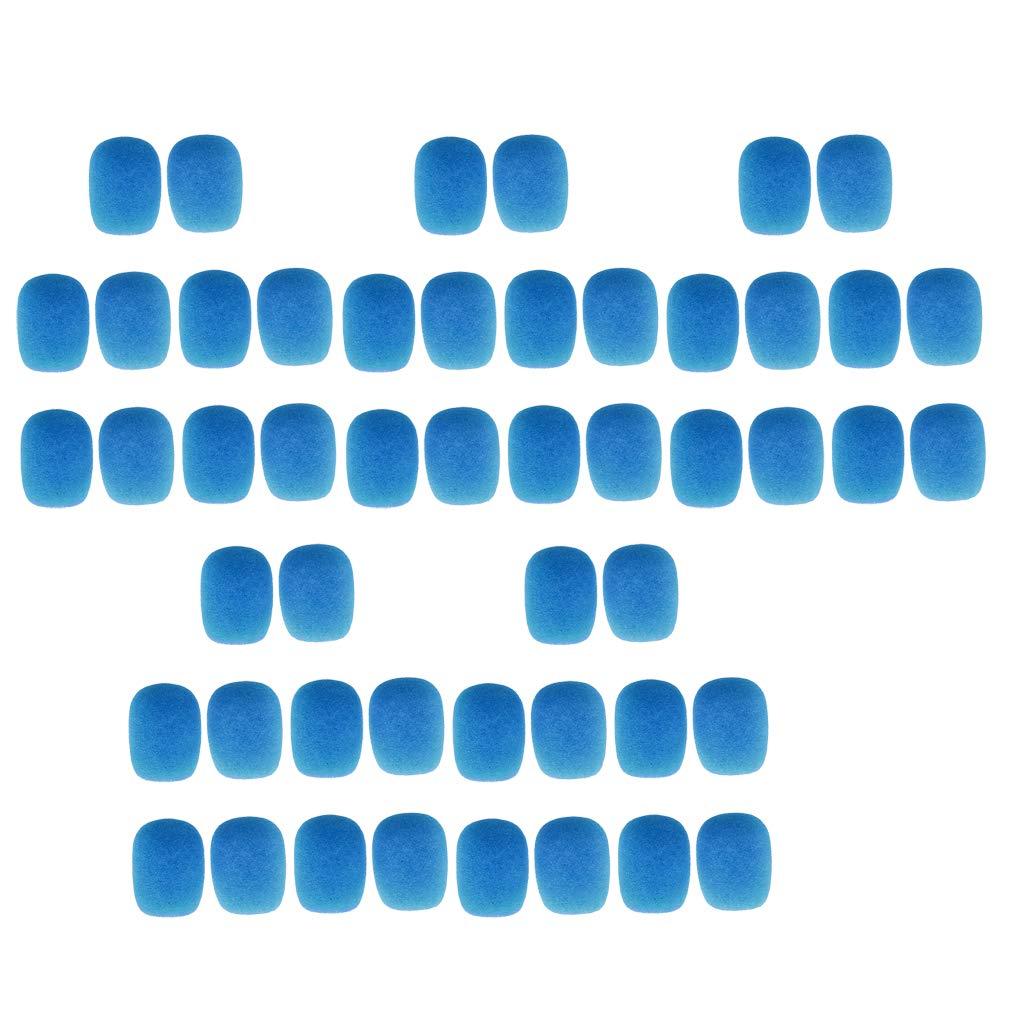50 Pieces Mini Microphone Mic Sponge Cover Windscreens Pack Blue
