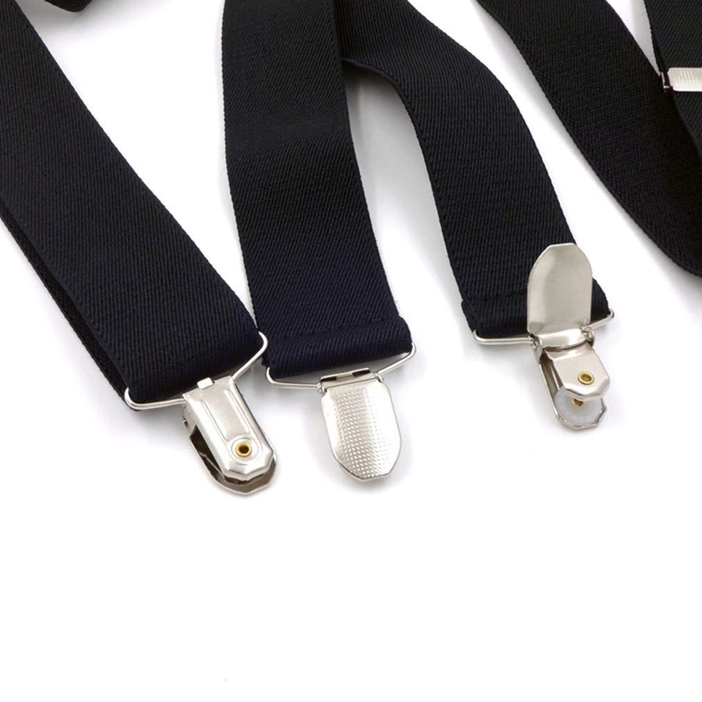 Mens X Shape Suspenders 1.4 In Width Heavy Duty Braces/&Metal Fixed Strip/&4 Clips