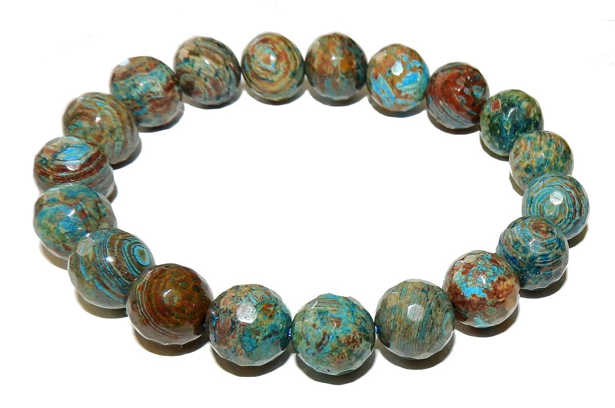 10mm Chrysocolla Bracelet 01 Faceted Natural Gorgeous Crystal Spiritual Third Eye Crown Chakras Healing Crystal (Gift Box) (7.5 Inches)