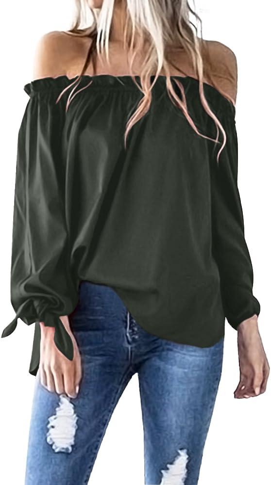 ACHIOOWA Mujer Camiseta Manga Larga Sexy Hombros Descubiertos Otoño Blusa Elegante Casual Top Shirt 814413-Ejercito Verde S: Amazon.es: Ropa y accesorios