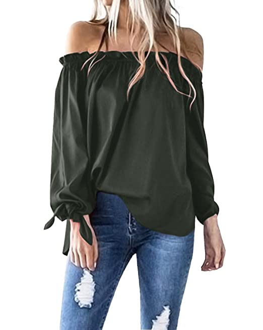 dba6d8253d627d ACHIOOWA Women Tops Off Shoulder Long Sleeve Tops Casual Blouse T Shirts  Loose Tunic Ladies Tops  Amazon.co.uk  Clothing