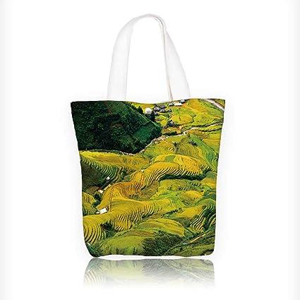 96e2775b59e2 Amazon.com: Stylish Canvas Zippered Tote Bag terraced rice field in ...