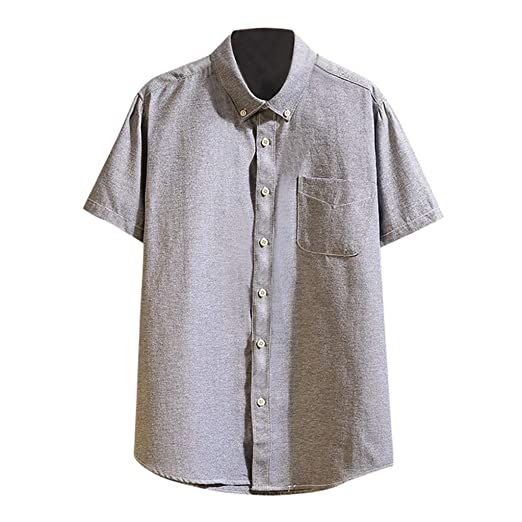Summer Mens  Button Down Shorts  Sleeve Shirt Casual Blouse Solid Color Tops