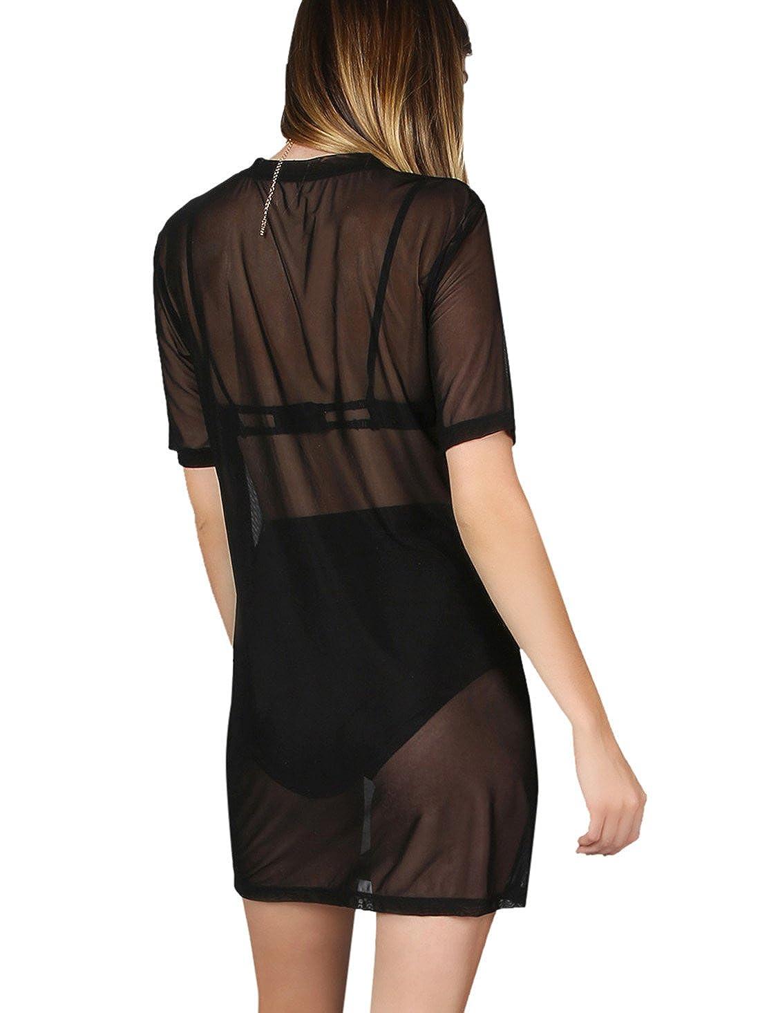 e200e82ce3 MAKEMECHIC Women's Beach Cover Ups Short Sleeve See Through Sheer Mesh T  Shirt Dress: Amazon.ca: Clothing & Accessories