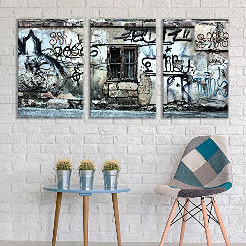 (wall26 - 3 Panel Canvas Wall Art - Triptych Street Graffiti Series - Abandoned Window - Giclee Print Gallery Wrap Modern Home Decor Ready to Hang - 24