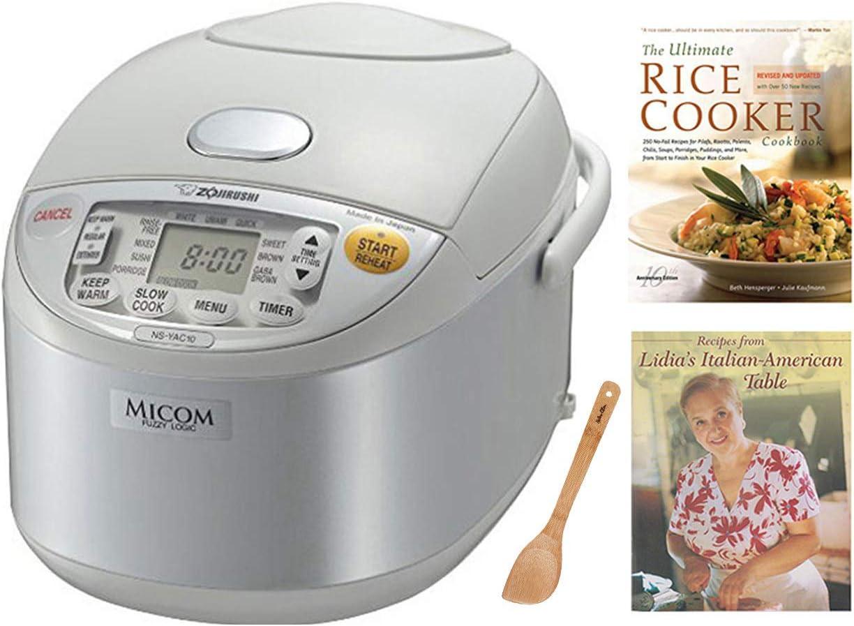 Zojirushi NS-YAC10 Umami Micom Rice Cooker and Warmer, Pearl White, 5.5 Cup Capacity Includes Two Cookbooks & Spatula Bundle