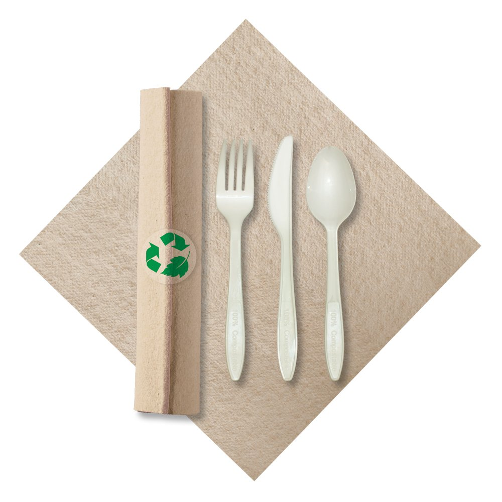 Hoffmaster 119993 Linen-Like Natural CaterWrap Pre-rolled Napkin Cutlery made of renewable resources, (2 packs of 50 per case)