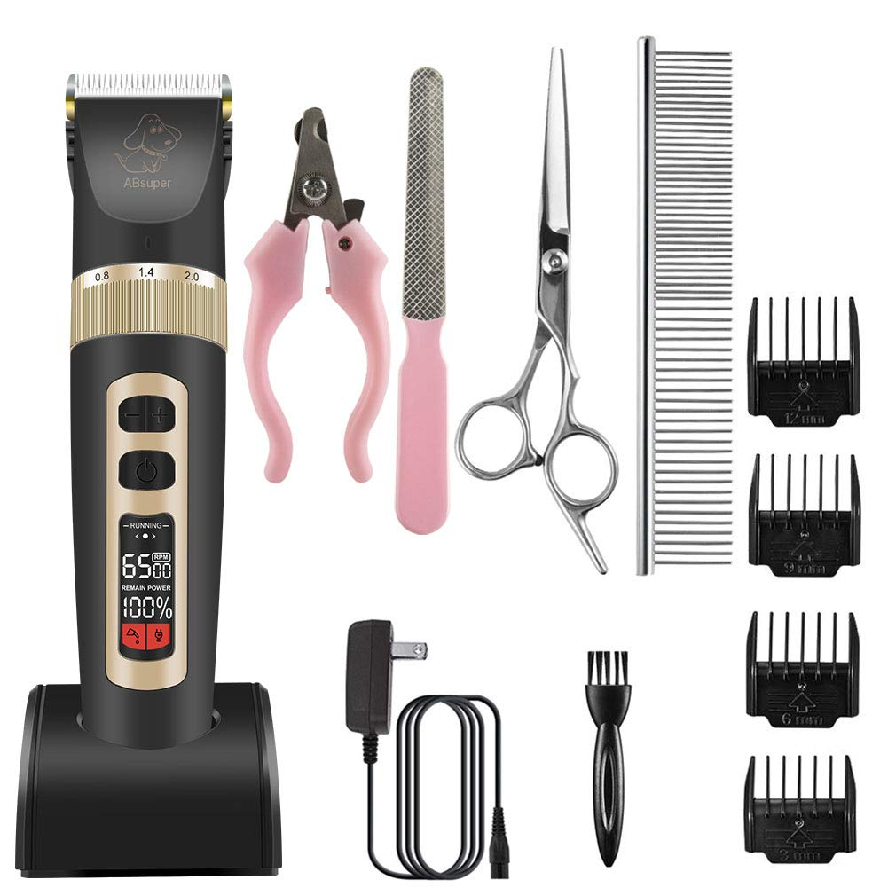 Dog Clippers, ABsuper 3 Speeds Rechargeable Dog Grooming Kit Cordless Dog Grooming Clippers Low Noise, LCD Display Dog Hair Clippers with Guide Combs Scissors Cleaning Brush Nail Kits AC Adapter by ABsuper