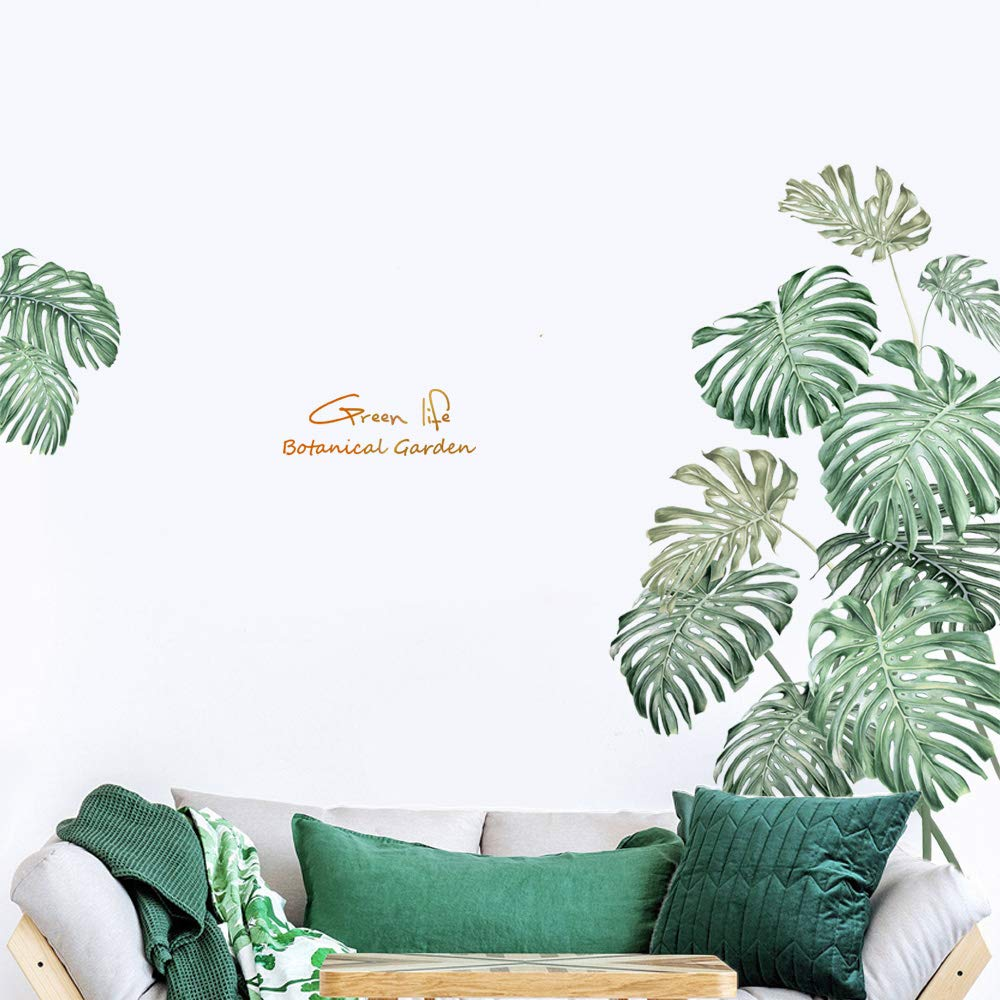 Green Tropical Leaves Wall Decor, iinuu Nature Palm Leaf Tree Plants Wall Decals for Bedroom Kids Room Living Room Nursery Classroom Offices Wall Decorations(B)