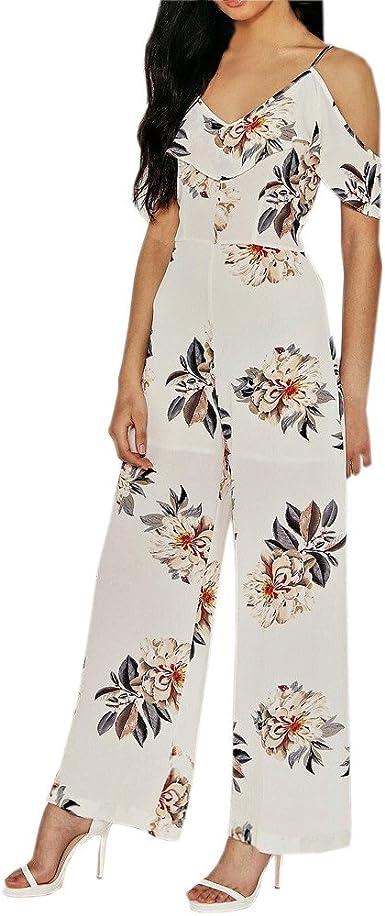 SELX Women Floral Print Off The Shoulder Wide Leg Ruffle Jumpsuits Romper