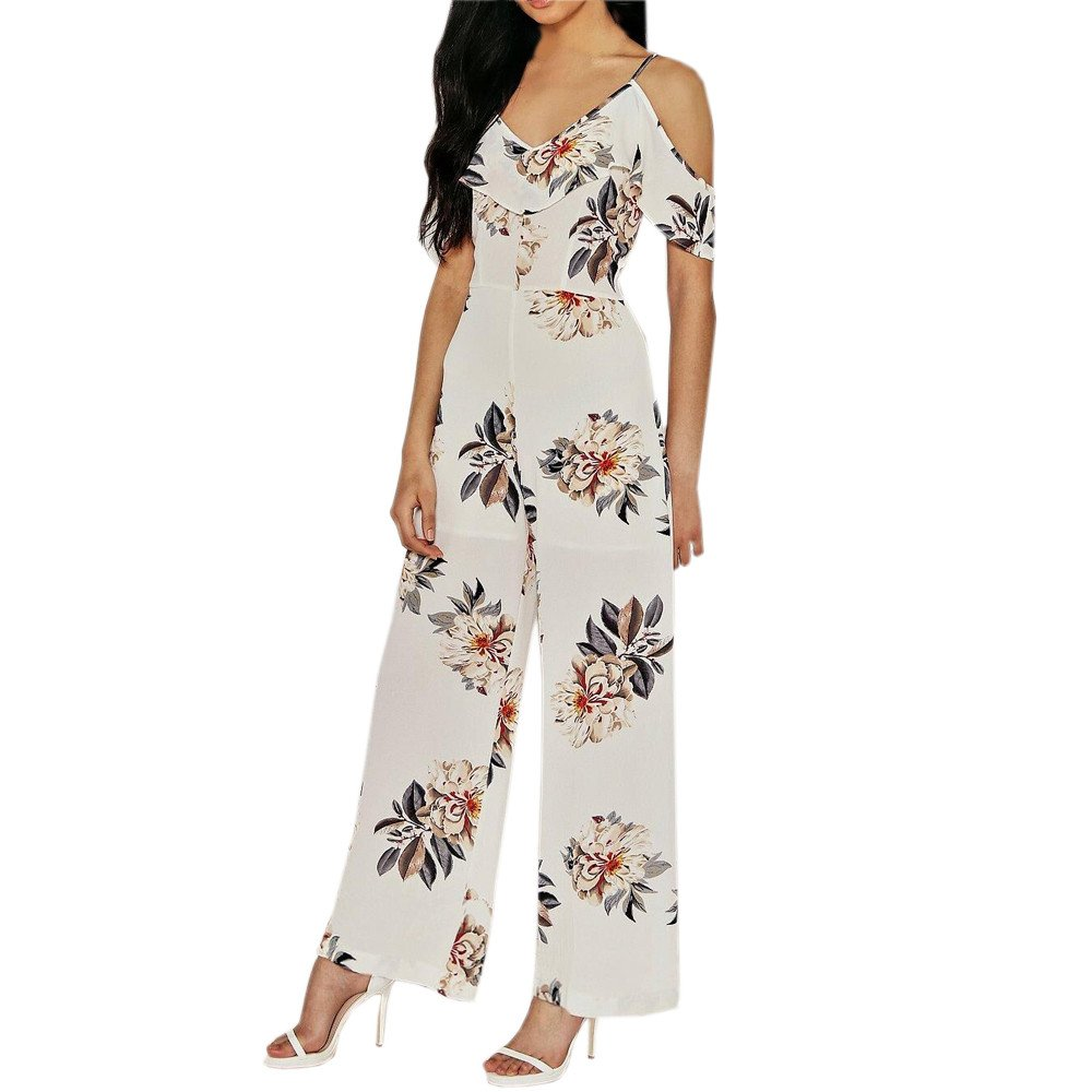 3e9bd943944 Amazon.com  general3 Women Sexy Swing Jumpsuit Off The Shoulder Clubwear  Party Mid Rise Cut Out Jumpsuits Printed Playsuit  Clothing