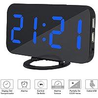 NEXGADGET Reloj Despertador Electrónico Digital Espejo LED Dual USB Puertos Snooze Memoria Automática Reloj con Función de Alarma