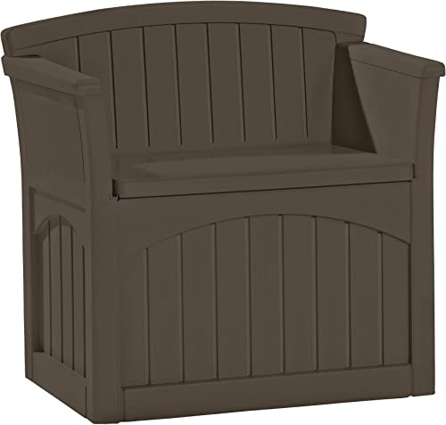 Suncast 31-Gallon Medium Deck Box Seat – Lightweight Resin Indoor Outdoor Storage Container and Seat for Patio Cushions and Gardening Tools – Store Items on Patio, Garage, Yard – Java