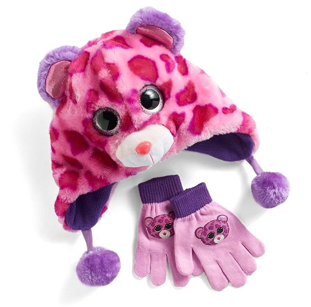 Ty Beanie Boo Glamour Hat And Glove Faux-Fur Plush 3D Leopard Pink Purple Set Beanie Boos