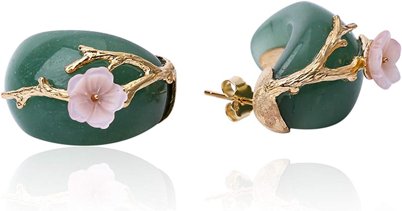 ♥ Regalo para Navidad♥ JIANGYUYAN S925, pendientes de botón de plata esterlina, flor de ciruelo, cristal rosa natural, joyería única hecha a mano para mujeres y niñas(Green-Gold)