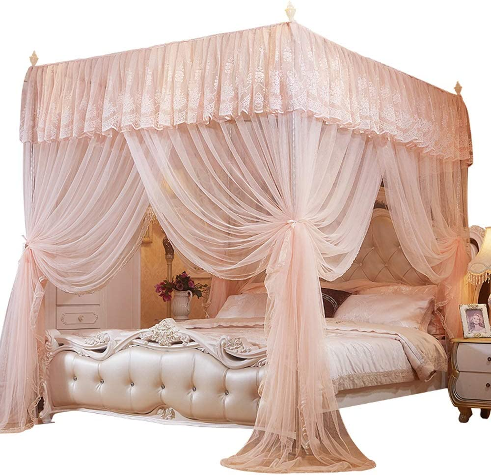 Mengersi Nattey 4 Corner Poster Princess Bed Curtain Canopy For Girls Kids Adults Canopies Bedroom Decor Queen Peach Home Kitchen