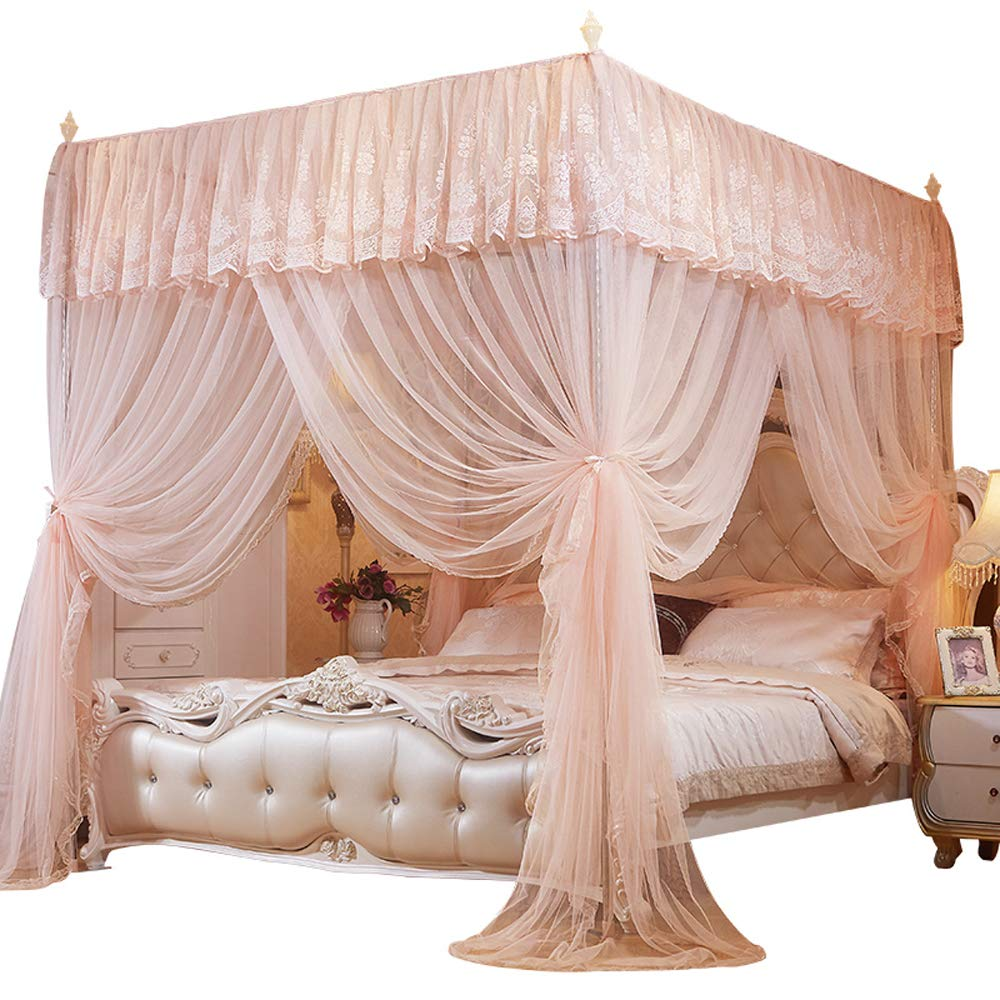4 Corner Poster Canopy Bed Curtains Bed Canopies Mosquito Net for Girls Kids (Queen, Peach)