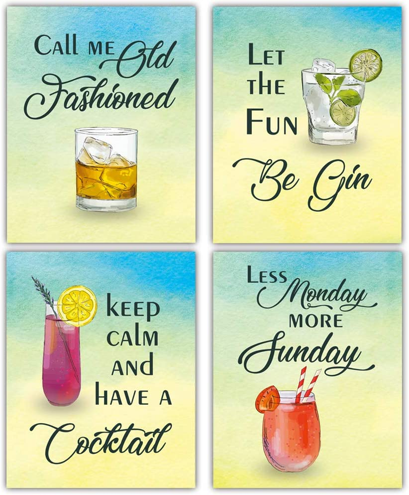 "Funny Mixed Cocktail Quote Art Print, Colorful Alcoholic Beverage Canvas Painting Set Of 4(8X10"", Unframed),Watercolor Drink Inspirational Word Wall Art Poster For Home Bar, Kitchen Decor"