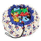 Play Mat and Toy Storage Bag - Durable Floor Activity Organizer Mat - Large Drawstring Portable Container for Kids Toys, Lego, Books - 55'', Superhero