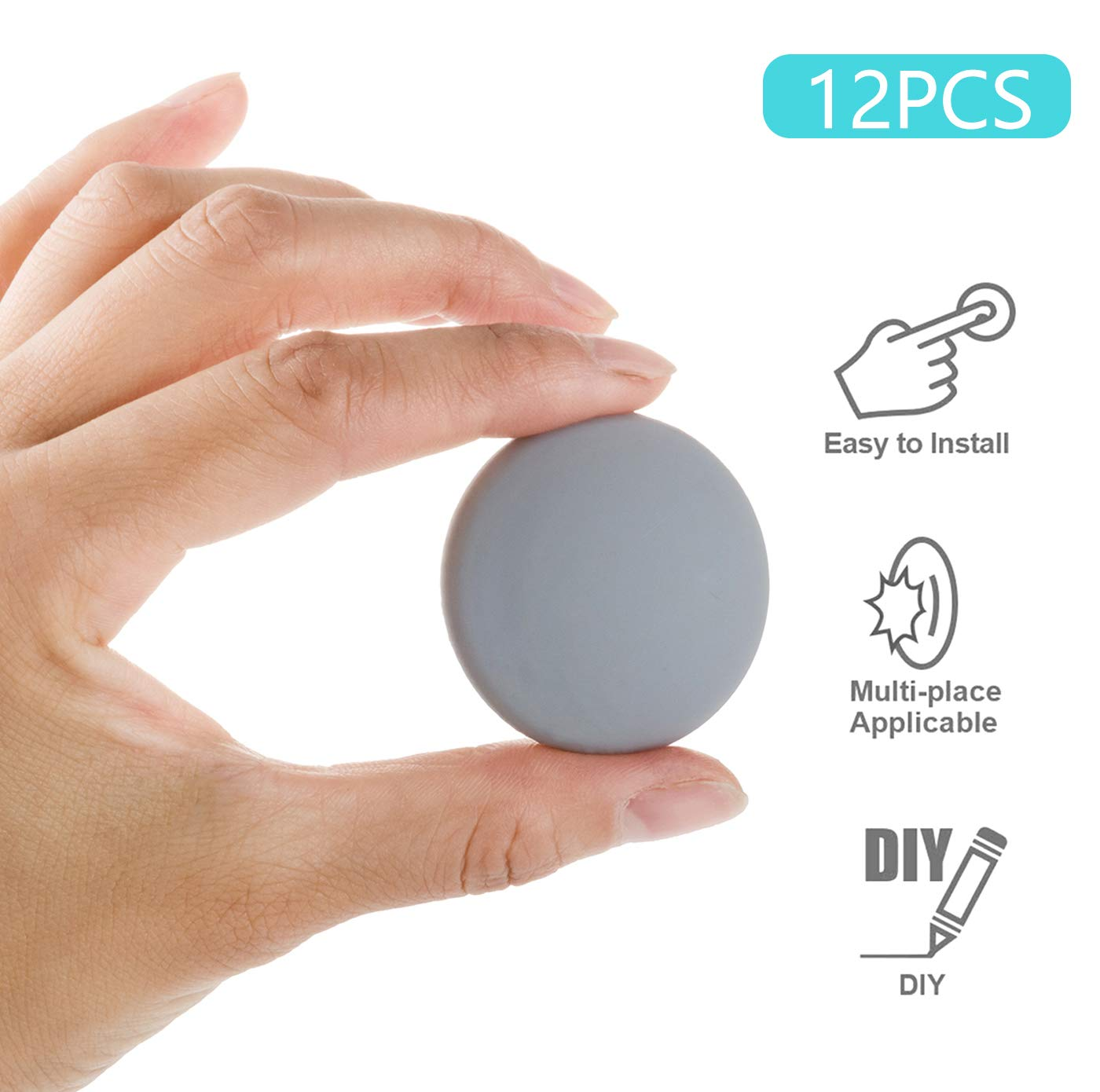 "12pcs Door Stopper Wall,1.57 Inch Silicone Wall Protector, Round Door Bumper with 3M Self Adhesive Door Knob Guard(Gray, 1.57"" 12pack)"
