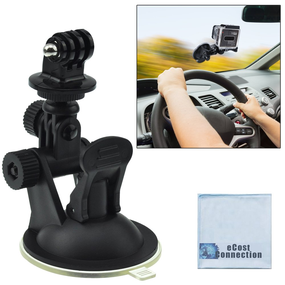 Car Windshield Dashcam Mount for GoPro HERO1, HERO2, HERO3, HERO3+ and HERO4 Cameras w/ Suction Cup + eCost Microfiber Cloth GPDASHM