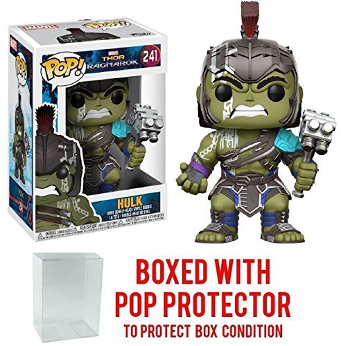 Funko Pop! Marvel: Thor Ragnarok - Hulk Helmeted Gladiator #241 Vinyl Figure (Bundled with Pop BOX PROTECTOR CASE)
