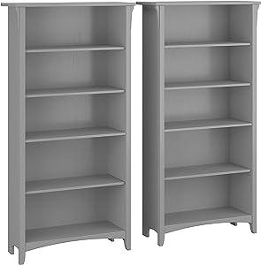 Bush Furniture Salinas Tall 5 Shelf Bookcase - Set of 2, Cape Cod Gray