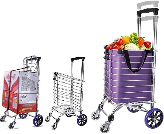 Carretillas de mano Carro de la compra plegable, furgoneta que se arrastra en la escalera, carro de la herramienta de lavandería con rodamientos de ruedas giratorias, transporte de hasta 177 libras -: