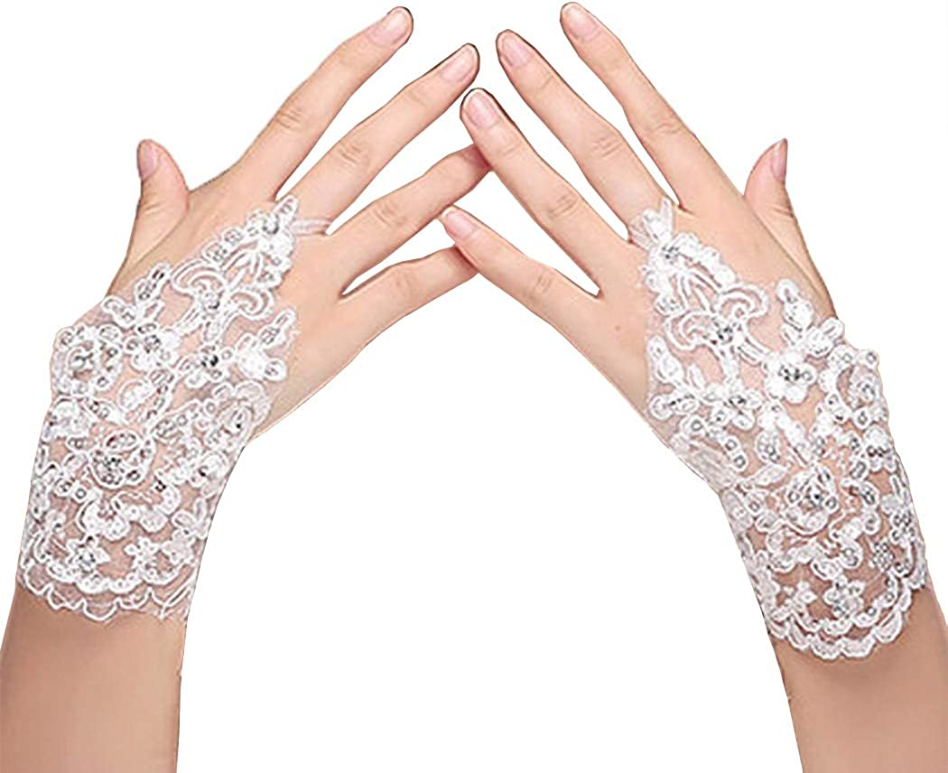YHFDRESS Women's Lace Crystals Gloves for Wedding Party Fingerless Bridal Gloves Special Occasions