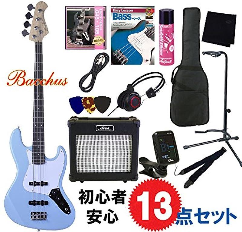 Bacchus・일렉트릭 기타 베이스 입문13점 세트|Bacchus/BJB-1R GRM Bacchus/재즈 베이스 ・아리아 앰프도 붙은 초심자・완벽 세트 (GRM/그린 메탈릭)