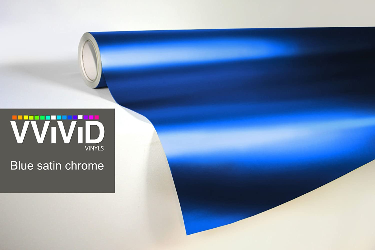 VViViD Blue Satin Chrome Vinyl Wrap Stretch Conform DIY Easy to Use Air-Release Adhesive 3ft x 5ft