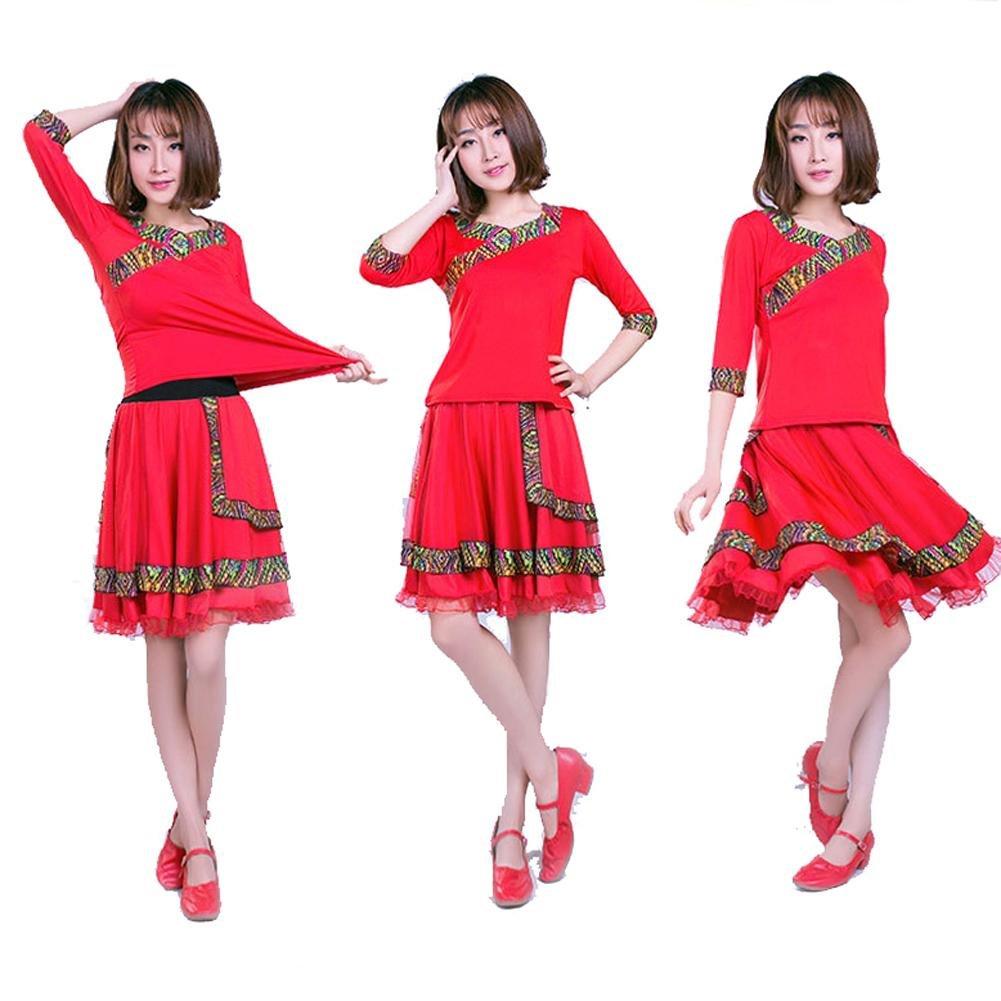 Byjia Gruppen-Performance Frauen Latin Square Square Square Dance Kleid Kurzarm Rock Anzug Praxis Match Uniformen Professionelle Sets B071L1LPM7 Bekleidung Keine Begrenzung zu üben 3b719a