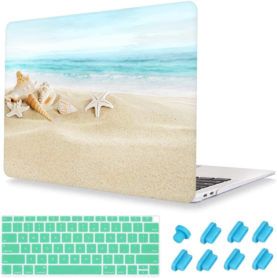 Hard Sell Clear Laptop Case Keyboard Skin Dust Plug for MacBook Air 13 (Models:A1466/A1369) Old Version 2010 2017 Release - Ocean Beach Starfish
