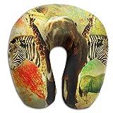 U-Shaped Pillow Neck Shoulder Body Care African Wild Animals Creative Design Artwork Health Soft U-Pillow For Home Travel Flight Unisex Supportive Sleeping