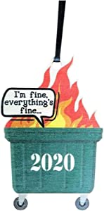 HCBY Dumpster Fire 2020 Christmas Tree Ornament with Rope Funny Xmas Gift Limited Edition, I'm Fine' Christmas Ornaments Christmas Pendant Wood Handmade Merry Christmas Hanging Ornament