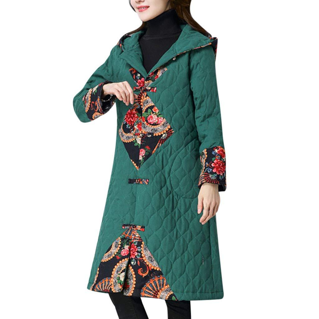 Yanvan Winter Coat for Women Hoodie Folk-Custom Print Cotton Outwear Warm Long Thick Coat Jacket by Yanvan