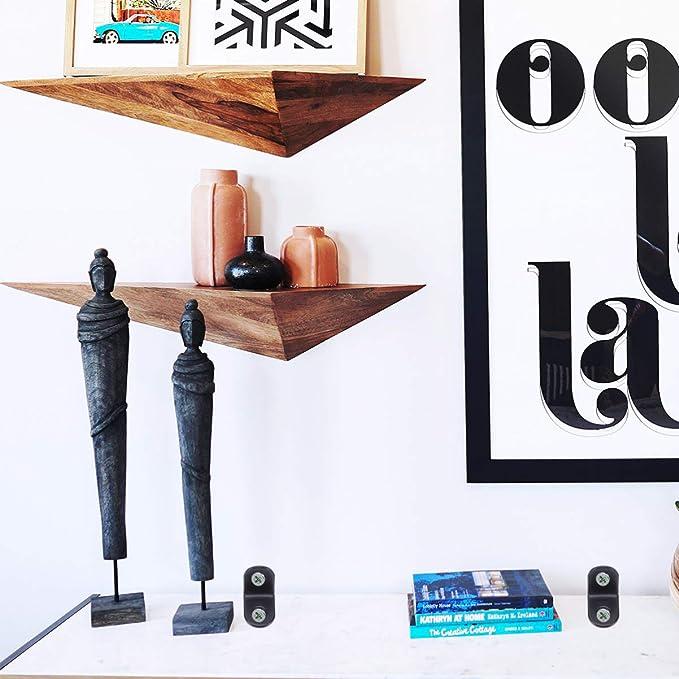 DOITOOL 50 piezas Soporte de esquina de acero inoxidable negro Escuadras de ángulo para soporte de ángulo de servicio soporte de estante para madera, ...