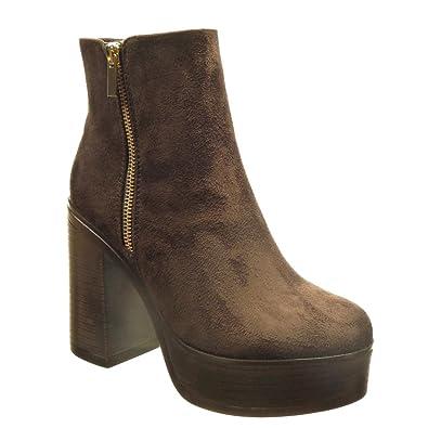 Angkorly - Chaussure Mode Bottine plateforme montante femme fermeture zip Talon haut bloc 10.5 CM - Marron - AS1565 U10sw