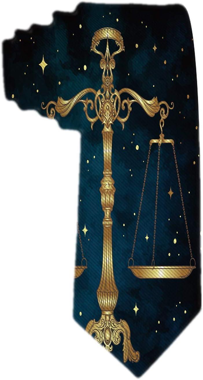 Cravatta classica da uomo Bilancia ornato antica Bilancia sopra cielo notturno blu con stelle dorate Cravatta in tessuto design cravatta Bilancia