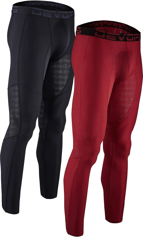 DEVOPS Men's 2 Pack Compression Cool Dry Tights Baselayer Running Active Leggings Pants