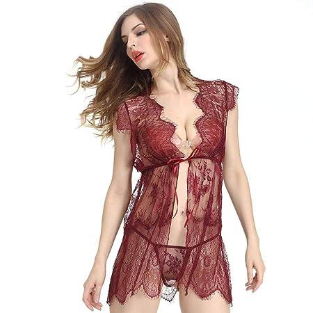 WOCC Ropa Interior De Mujer Pijama Sexy Encaje Perspectiva Falda ...