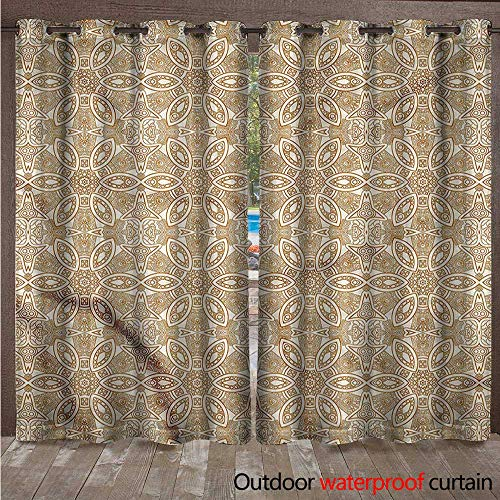 cobeDecor Ivory Home Patio Outdoor Curtain Oriental Arabesqu