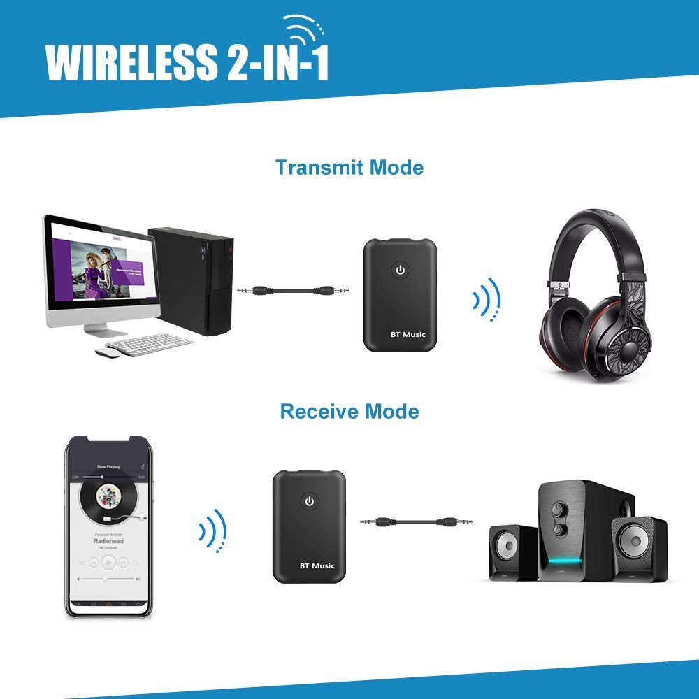 Chasehill Bluetooth 4.2 Transmitter and Receiver, 2-in-1 Wireless 3.5mm Audio Adapter, aptX Low Latency for TV, PC, Car, Home Sound System (Black) by Chasehill (Image #4)
